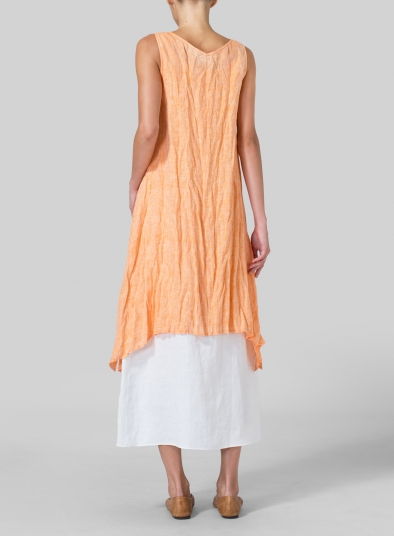 Linen Sleeveless Crumple Effect Long Blouse