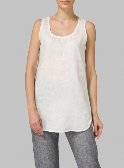 Linen Sleeveless Long Shell Tank