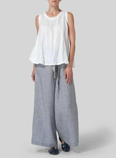 Light-weight Linen Peplum Top