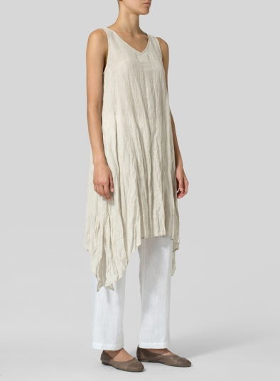 Linen Sleeveless Crumple Effect Long Dress