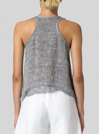 Two Tone Linen Cropped Tank Top