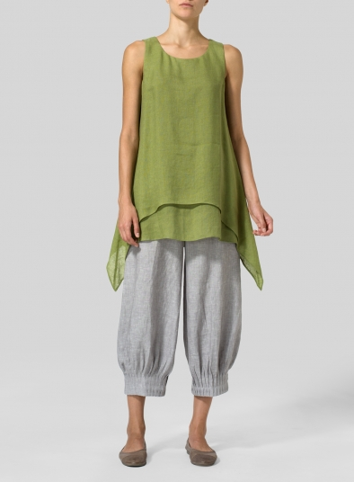 Linen Gauze Sleeveless Layered Top