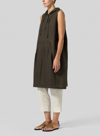 Linen Sleeveless Hoodie Long Tunic