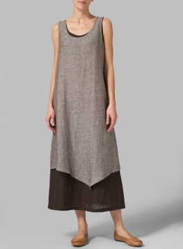 Linen Double Layered Long Dress