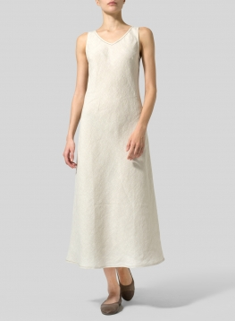 Linen Bias Cut Sleeveless Long Dress