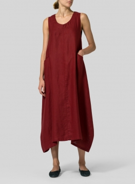Linen Sleeveless Long Dress