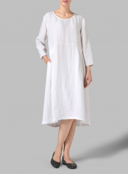 Linen Empire Waist Midi Dress