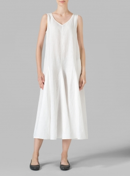 Linen Sleeveless Tea Length Dress