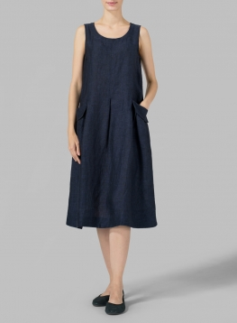 Linen Sleeveless Swing Dress