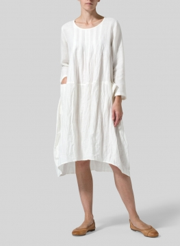 Linen High-Low Babydoll Dress