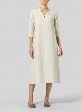 Linen V-neck Mandarin Collar Dress Tunic