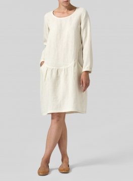 Linen Pleated-Waist Dress
