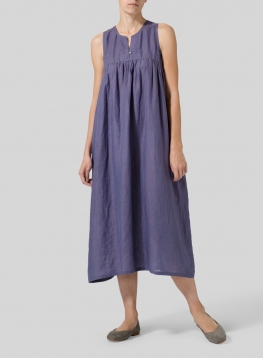 Linen Sleeveless Pleated Dress