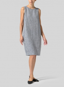 Linen Sleeveless Mid-Length Dress