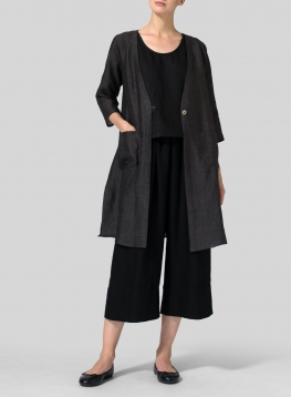 Linen Single-Button Oversized Jacket