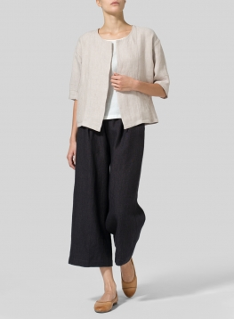 Twill Weave Linen Open Front Jacket