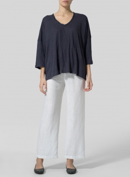 Knitted Linen Square Short Sleeve Top