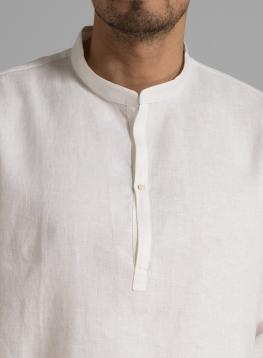 Long Sleeve Band Collar Linen Men Shirt