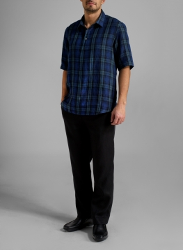 Linen Men Short Sleeve Popover Shirt