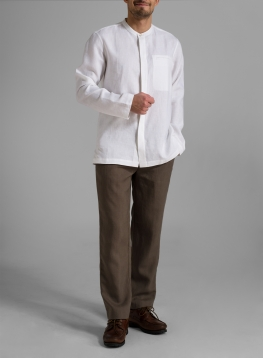 Linen Men Round Neckline Long Sleeve Shirt
