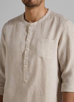 Mens Collarless Shirts Linen Is Shirt