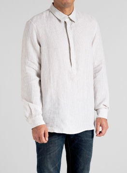 Linen Men Popover Long Sleeve Shirt