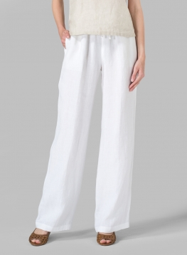 Linen Long Straight Pull-On Pants