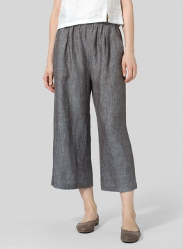 Linen Straight Cropped Pants