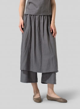 Linen Two-layer Long Culottes