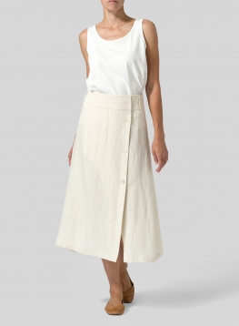 Linen Side-Button A-Line Skirt