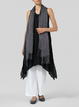 Yarn-Dyed Navy Black Scarf