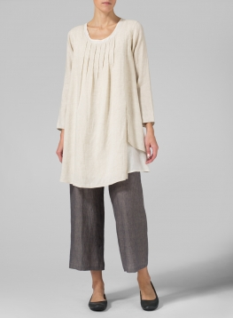 Linen Double Layers Pleated Blouse