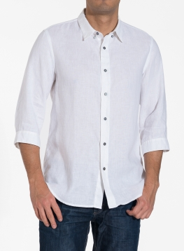 Linen Three Quarter Sleeve Men Shirt