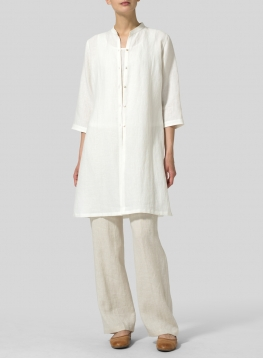 Linen Mandarin Collar Simple Long Blouse