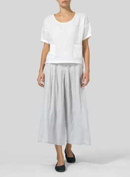 Lightweight Linen Half Sleeve Top