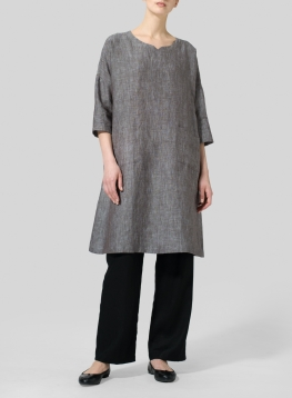 Linen Half-sleeve Monk Dress