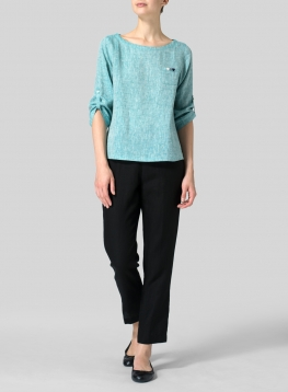Linen Collarless Three-quarter Sleeve Top