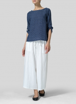 Linen Boat Neck Three-quarter Sleeve Top