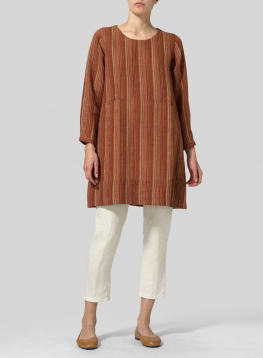 Linen Long Sleeve Slip-On Shift Dress
