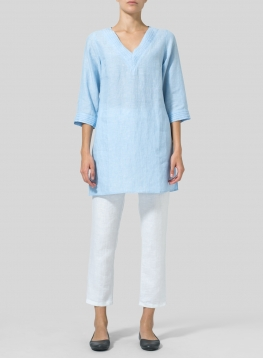Linen V-neckline Pleated Tunics