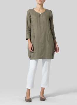 Linen Button Loop Balloon Tunic