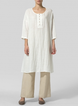 Linen 3/4 Sleeve Round-Neck Tunic