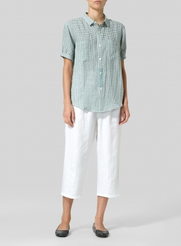 Linen Short Sleeve Checker Shirt