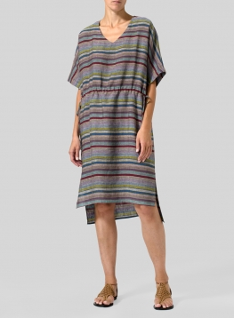 Linen Mixed-Textures V-Neck Dress