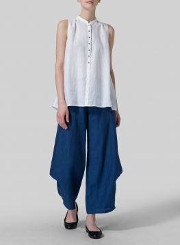 Linen Mandarin Collar A-Line Sleeveless Shirt