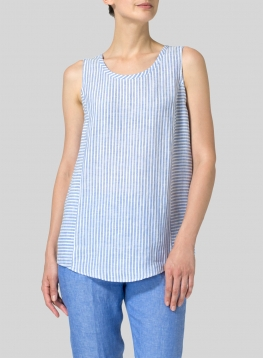 Linen Sleeveless Long Tank Top