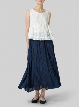 Linen Sleeveless Pleated Blouse