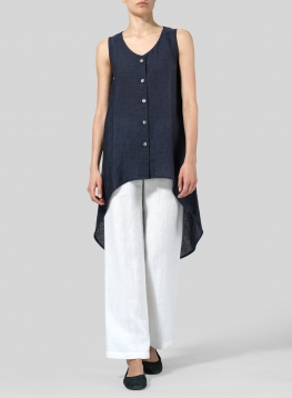 Linen Asymmetrical Hem Tail Top
