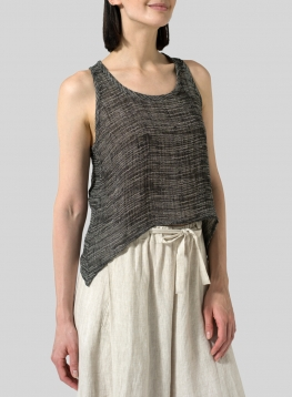 Gauze Linen Cropped Tank Top