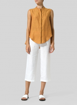 Linen A-line Sleeveless Top with Mandarin Collar